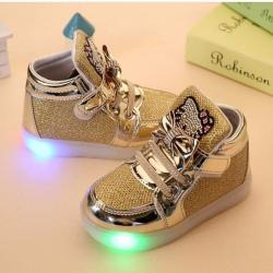 GOLD KITTY LED LIGHT UP SHOES